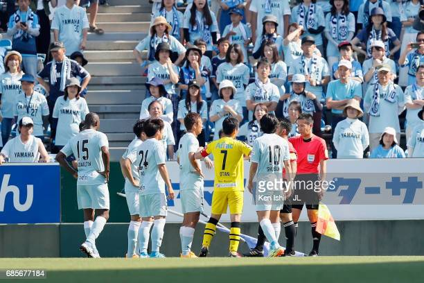Jubilo Iwata players protest to referee Koichiro Fukushima on the penalty decision during the JLeague J1 match between Jubilo Iwata and Kashiwa...
