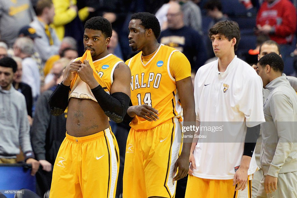 Jubril Adekoya #23 and Vashil Fernandez #14 of the Valparaiso Crusaders react after their loss to the Maryland Terrapins during the second round of the Men's NCAA Basketball Tournament at Nationwide Arena on March 20, 2015 in Columbus, Ohio.