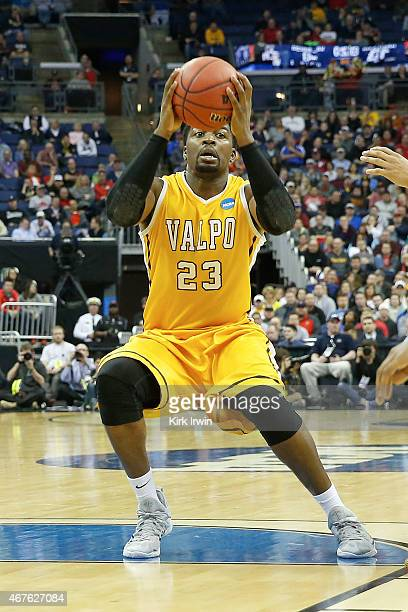 Jubril Adekoya of the Valparaiso Crusaders controls the ball during the second round of the 2015 NCAA Men's Basketball Tournament at Nationwide Arena...