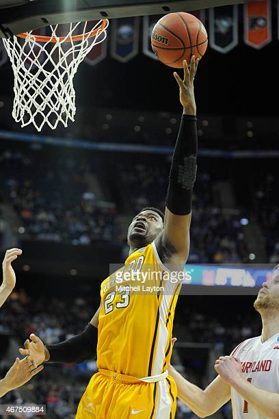 Jubril Adekoya of the Valparaiso Crusaders drives to the basket during the second round of the 2015 NCAA Men's Basketball Tournament against the...