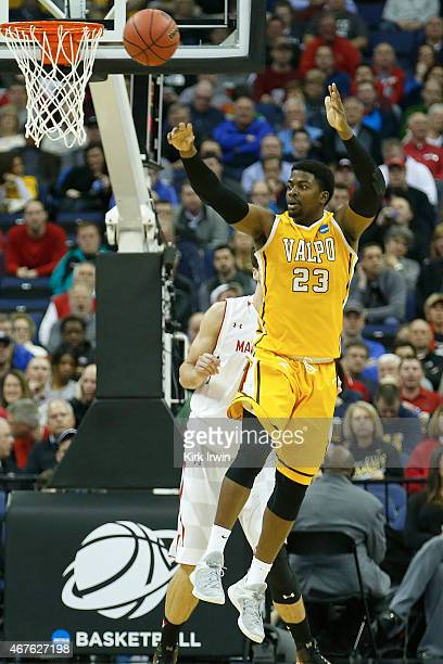 Jubril Adekoya of the Valparaiso Crusaders passes the ball during the second round of the 2015 NCAA Men's Basketball Tournament at Nationwide Arena...
