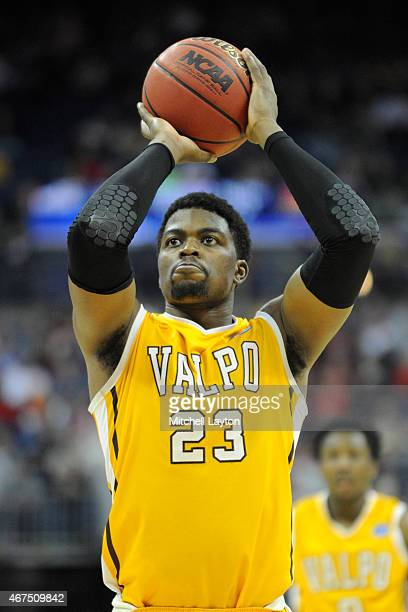 Jubril Adekoya of the Valparaiso Crusaders takes a foul shot during the second round of the 2015 NCAA Men's Basketball Tournament against the...