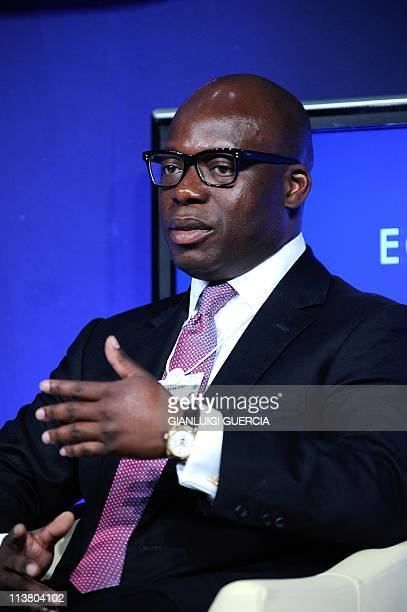Jubril Adewale Tinubu Group Chief Executive Oando Nigeria CoChair of the World Economic Forum on Africa gives his remarks at a panel discussion...