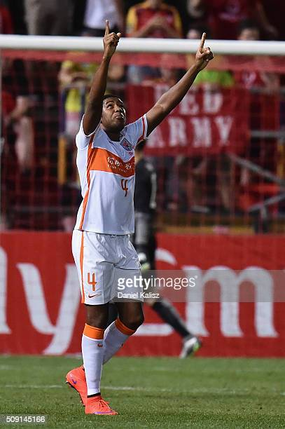 Jucilei da Silva of Shandong Luneng reacts after the final whistle during the AFC Champions League playoff match between Adelaide United and Shandong...