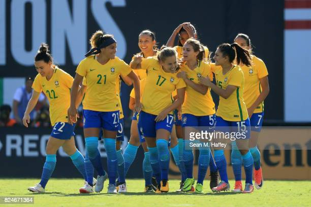 Jucinara Monica Djenifer Leticia Gabi Nunes and Andressinha of Brazil celebrate a goal against the United States during the first half of a match in...