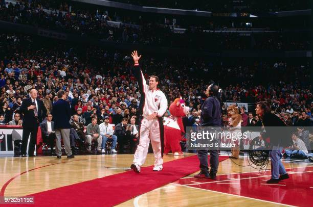 Jud Buechler of the Chicago Bulls celebrates during a game played on November 1 1997 at the First Union Arena in Philadelphia Pennsylvania NOTE TO...