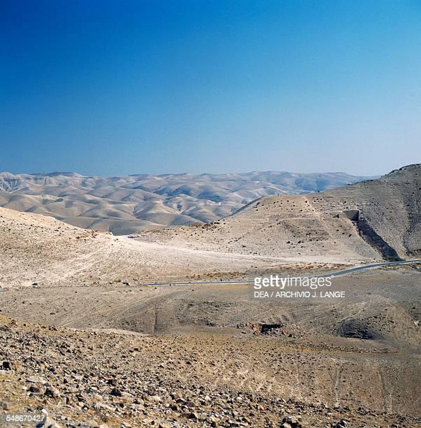 Judaean Desert landscape near Jericho Wadi Qelt Israel