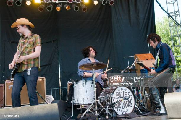 Judah Bauer Russell Simins and Jon Spencer of The Blues Explosion perform during day two of Pitchfork Music Festival at Union Park on July 17 2010 in...
