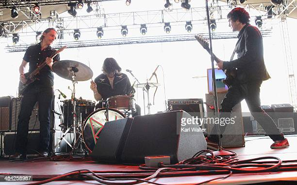 Judah Bauer Russell Simins and Jon Spencer of The Jon Spencer Blues Explosion perform onstage during day 1 of the 2014 Coachella Valley Music Arts...