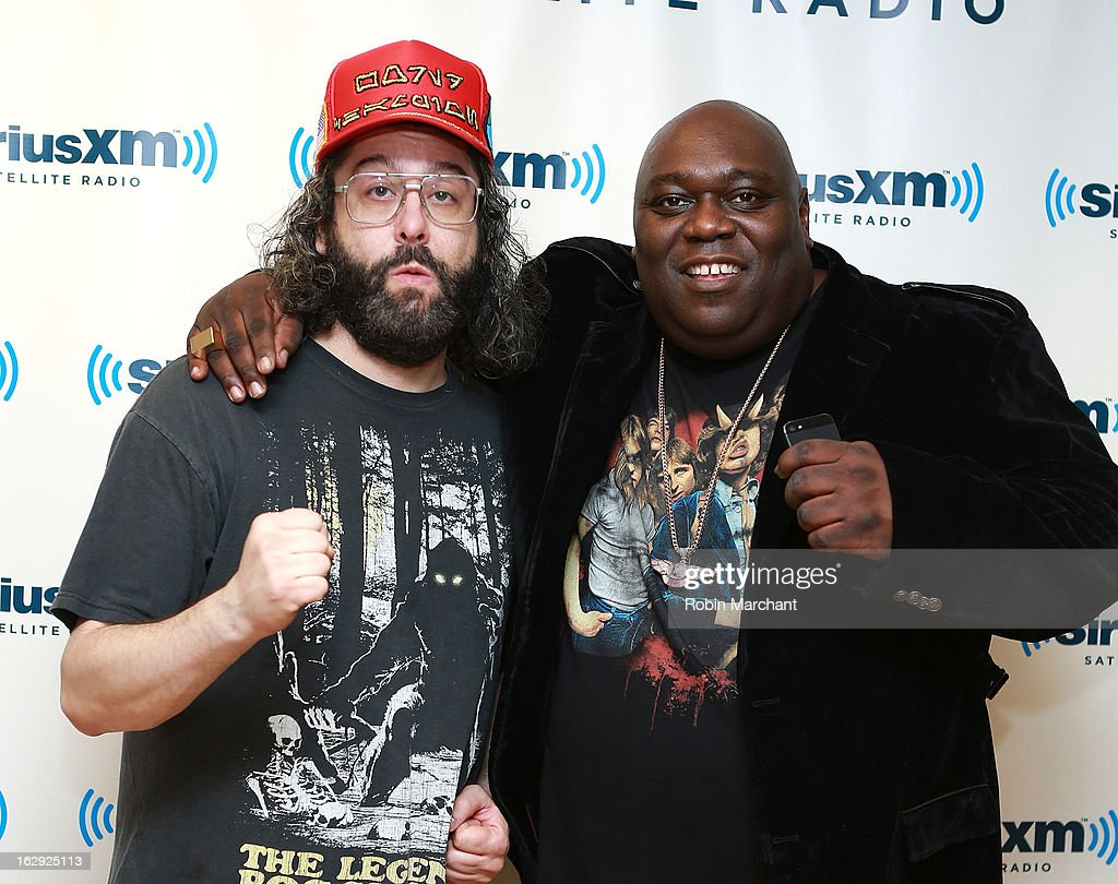 Judah Friedlander (L) and Faizon Love visit at SiriusXM Studios on March 1, 2013 in New York City.