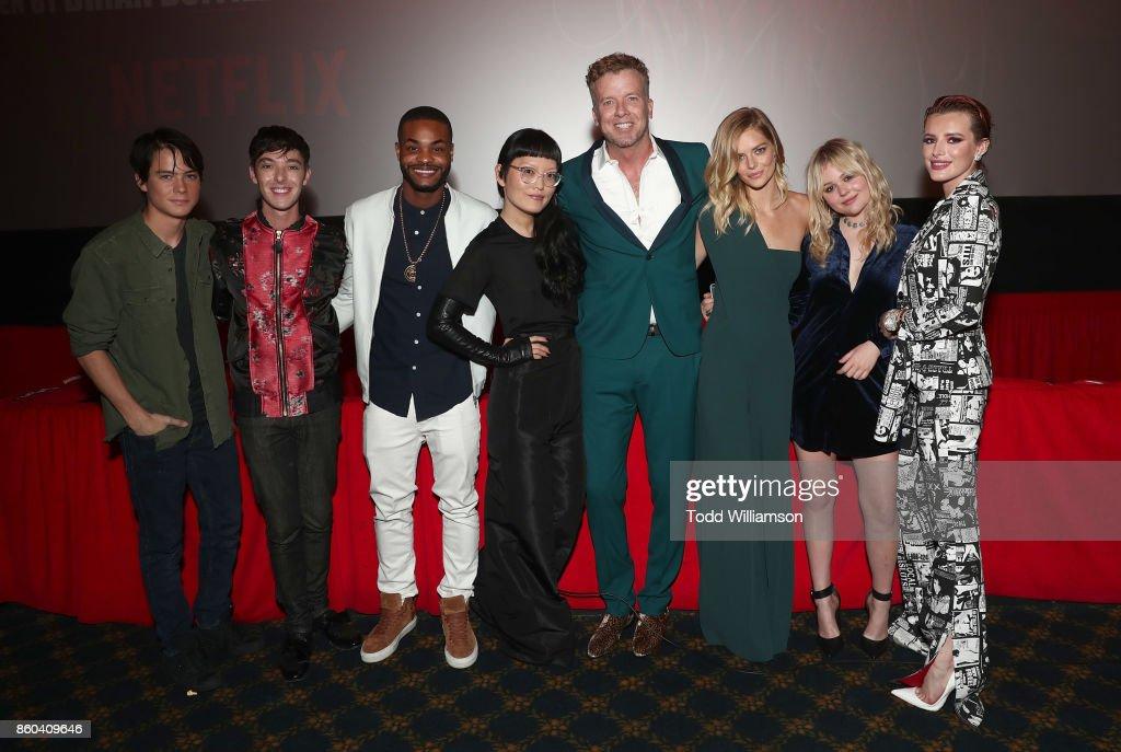 Judah Lewis, Doug Haley, King Bach, Hana Mae Lee, McG, Samara Weaving, Emily Alyn Lind and Bella Thorne attend the Los Angeles Premiere of 'The Babysitter' on October 11, 2017 in Los Angeles, California.