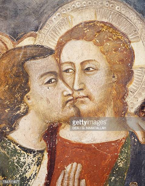 Judas' Betrayal, the Kiss, 14th century fresco from the Master Trecentesco of Sacro Speco School. Upper Church of Sacro Speco Monastery, Subiaco....