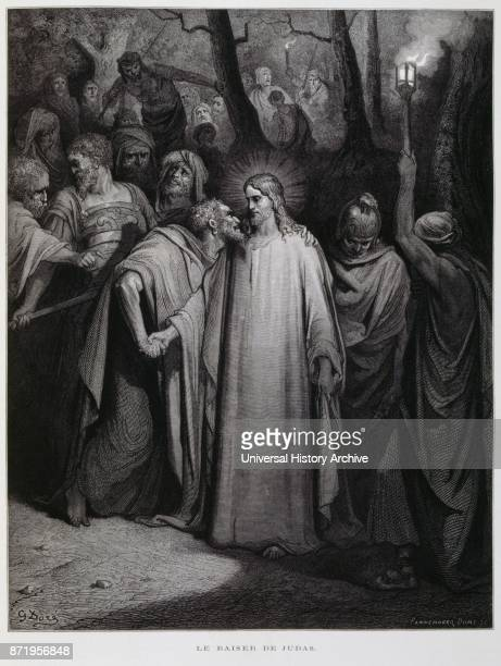 Judas betrays Jesus with a kiss Illustration from the Dore Bible 1866 French artist and illustrator Gustave Dor_ published a series of 241 wood...
