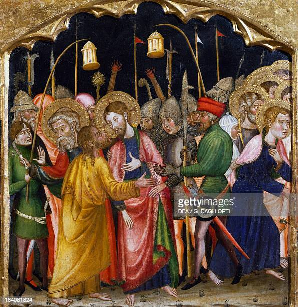 Judas' kiss by the Master of Rubio predella of the altarpiece from the Church of Santa Maria Rubio painting on wood Vic Museu Episcopal