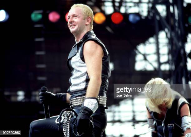 """Judas Priest lead vocalist Rob Halford plays """"Day On the Green"""" concert, opening the show for Led Zeppelin on July 23, 1977 at th Oakland Coliseum..."""
