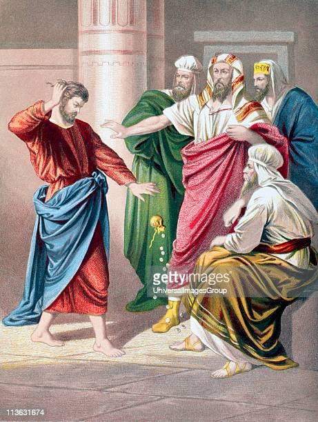 Judas repents and in remorse returns the thirty pieces of silver From The Holy Bible published by William Collins Sons Company in 1869...