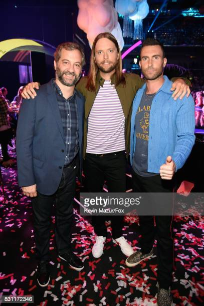 Judd Apatow and James Valentine and Adam Levine of Maroon 5 attend Teen Choice Awards 2017 at Galen Center on August 13 2017 in Los Angeles California