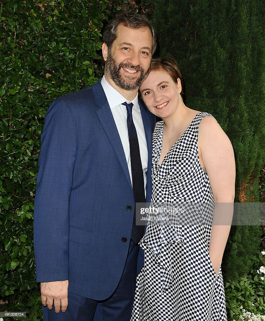 Judd Apatow and Lena Dunham attend the Rape Foundation's annual brunch at Greenacres, The Private Estate of Ron Burkle on October 4, 2015 in Beverly Hills, California.