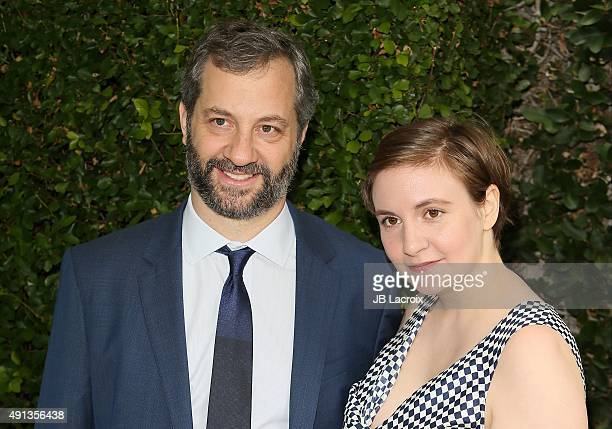 Judd Apatow and Lena Dunham attend the Rape Foundation's Annual Brunch held at the Greenacres the private estate of Ron Burkle on October 4 2015 in...
