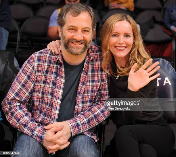Judd Apatow and Leslie Mann attend a basketball game between the Los Angeles Lakers and the Dallas Mavericks at Staples Center on October 31 2018 in...