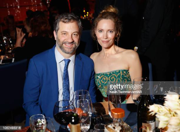 Judd Apatow and Leslie Mann attend amfAR Los Angeles 2018 at Wallis Annenberg Center for the Performing Arts on October 18 2018 in Beverly Hills...