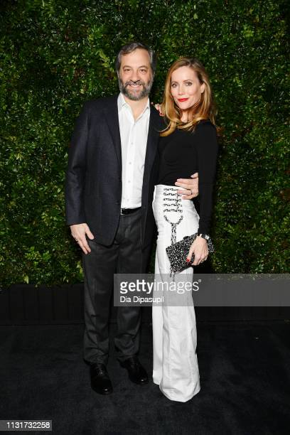 Judd Apatow and Leslie Mann attend Chanel And Charles Finch PreOscar Awards Dinner At The Polo Lounge in Beverly Hills on February 23 2019 in Beverly...