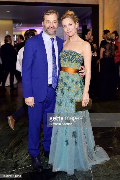 Judd Apatow and Leslie Mann attend the amfAR Gala Los Angeles 2018 at Wallis Annenberg Center for the Performing Arts on October 18 2018 in Beverly...
