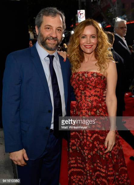 Judd Apatow and Leslie Mann attend the premiere of Universal Pictures' Blockers at Regency Village Theatre on April 3 2018 in Westwood California