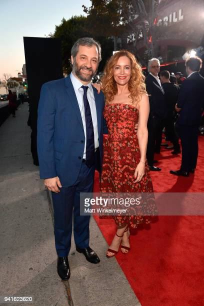 Judd Apatow and Leslie Mann attend the premiere of Universal Pictures' 'Blockers' at Regency Village Theatre on April 3 2018 in Westwood California