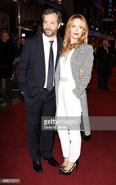 Judd Apatow and Leslie Mann attend the UK premiere of 'Anchorman 2 The Legend Continues' at the Vue West End on December 11 2013 in London England