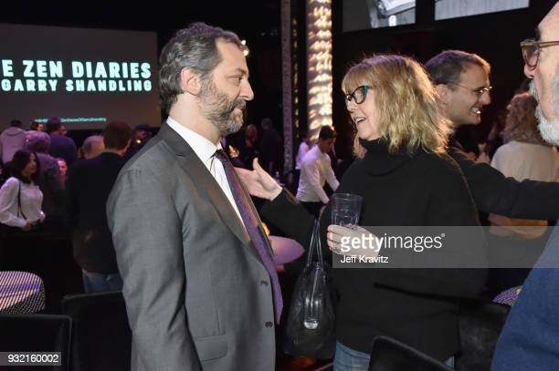 Judd Apatow and Monica Horanl attend the screening of HBO's The Zen Dairies of Garry Shandling at Avalon on March 14 2018 in Hollywood California