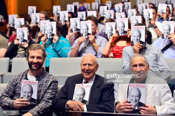 Judd Apatow Carl Reiner and Mel Brooks participate in the Comedy Central #ComedyFest KickOff with Mel Brooks Carl Reiner and Judd Apatow at The Paley...