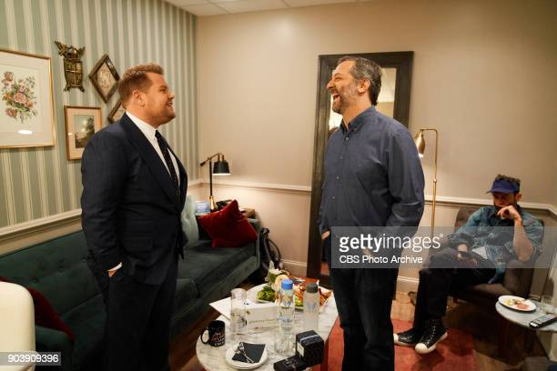 Judd Apatow chats in the green room with James Corden during 'The Late Late Show with James Corden' Wednesday January 10 2018 On The CBS Television...