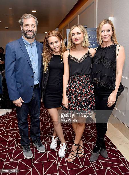 Judd Apatow Iris Apatow Maude Apatow and Leslie Mann attend the premiere of Vertical Entertainment's Other People at The London West Hollywood on...