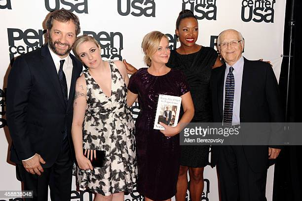 Judd Apatow Lena Dunham Amy Poehler Aisha Tyler and Norman Lear attend Pen Center USA's 24th Annual Literary Awards Festival at the Beverly Wilshire...