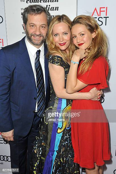 Judd Apatow Leslie Mann and Iris Apatow arrive at Premiere of Sony Pictures Classics' 'The Comedian' at the Egyptian Theatre on November 11 2016 in...