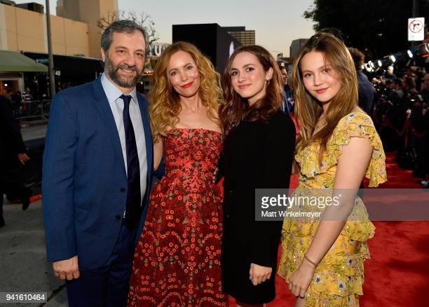 Judd Apatow Leslie Mann Maude Apatow and Iris Apatow attend the premiere of Universal Pictures' Blockers at Regency Village Theatre on April 3 2018...