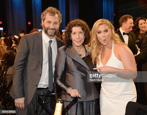 Judd Apatow Lily Tomlin and Amy Schumer attend the 21st Annual Critics' Choice Awards at Barker Hangar on January 17 2016 in Santa Monica California