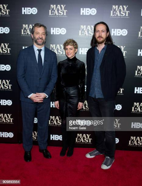 Judd Apatow Sara Bernstein and Michael Bonfiglio attend HBO's 'May It Last A Portrait of The Avett Brothers' NYC premiere on January 24 2018 in New...