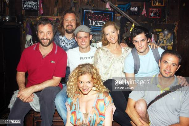 Judd Apatow Tad Wilson Jeremy Woodard Lauren Molina Leslie Mann Wesley Taylor and Paul Schoeffler pose backstage at the rock and roll musical comedy...