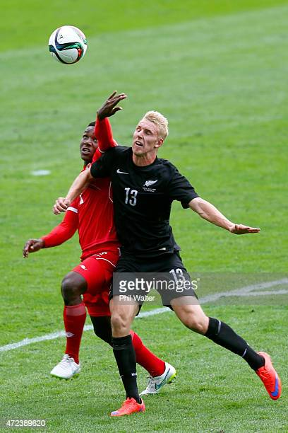 Judd Baker of New Zealand and Chin Hormechea of Panama contest the ball during the U20 Five Nations match between New Zealand and Panama at QBE...