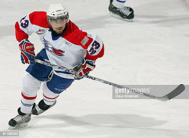 Judd Blackwater of the Spokane Chiefs skates against the Gatineau Olympiques in Game 5 of Memorial Cup round robin on May 20, 2008 at the Kitchener...