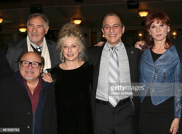 Judd Hirsch Danny DeVito Carol Kane Tony Danza and Marilu Henner backstage at the 'Taxi' cast reunion after the Broadway opening night performance of...