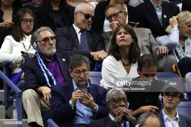 Judd Hirsch looks on during the men's Singles finals match between Novak Djokovic of Serbia and Juan Martin del Potro of Argentina on Day Fourteen of...