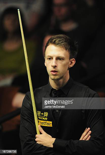 Judd Trump in action during his first round match against Dominic Dale during the Betfaircom World Snooker Championship at the Crucible Theatre on...