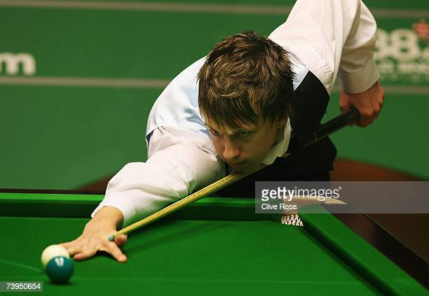Judd Trump in action during his first round match against Shaun Murphy in the 888.com World Championship at the Crucible Theatre on April 23, 2007 in...