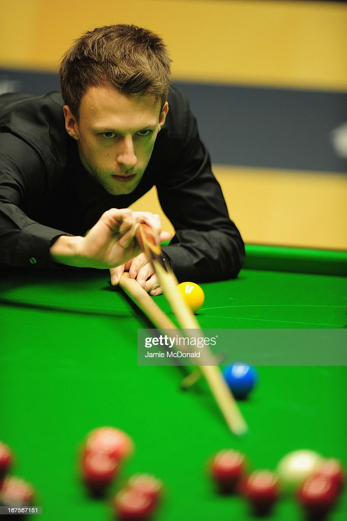 Judd Trump in action during his second round match against Marco Fu during the Betfair World Snooker Championship at the Crucible Theatre on April 26, 2013 in Sheffield, England.