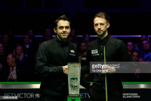 Judd Trump of England and Ronnie O'Sullivan of England pose during the final match on day seven of 2018 BetVictor Northern Ireland Open at Waterfront...