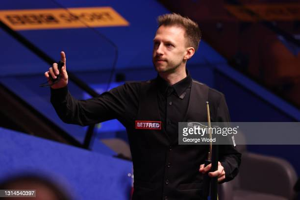 Judd Trump of England celebrates victory following the Betfred World Snooker Championship Round Two match between David Gilbert of England and Judd...