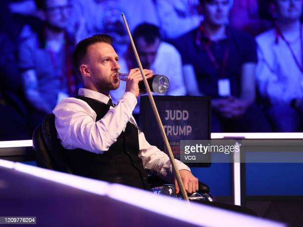 Judd Trump of England drinks water during the final match against Yan Bingtao of China on day seven of 2020 Coral Players Championship at Southport...